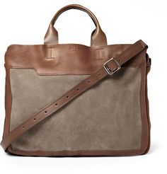 Bill Amberg Explorer Leather and Suede Briefcase | MR PORTER $650.00