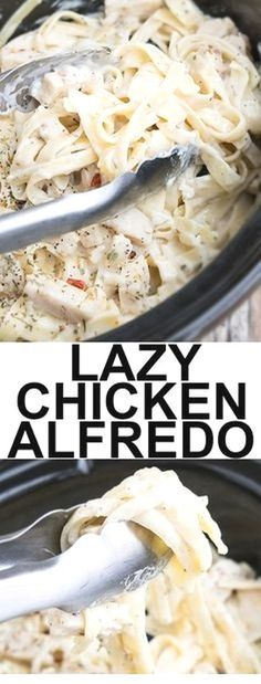 This quick and easy SLOW COOKER CHICKEN ALFREDO recipe requires 5 ingredients and 5 minutes of prep time. This crockpot chicken alfredo is rich and creamy and an easy weeknight meal. (quick and easy soup noodles) Crock Pot Recipes, Crock Pot Cooking, Slow Cooker Recipes, Cooking Tips, 5 Ingredient Crockpot Recipes, Italian Recipes Crockpot, Slow Cooker Meal Prep, Crock Pots, 5 Ingredient Meals