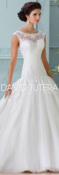 The David Tutera for Mon Cheri Spring 2016 Wedding Gown Collection - Style No. 116226 Chiara #laceweddingdresses
