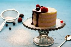 Lemon cake with forest fruits cream and sauce
