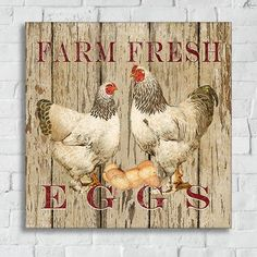 The Farm Fresh Gallery Canvas Wall Art brings a touch of country to your home with this vintage-looking fresh eggs sign. This image seems straight from a roadside farm with its delightful chicken, rooster, and eggs against a painted wood background. Chicken Signs, Chicken Art, Chicken Houses, Frames On Wall, Framed Wall Art, Canvas Wall Art, Chicken Painting, Painting On Wood, Arte Do Galo
