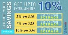 Now time to save your money with #AmantelCallingOffer. Get upto 10% extra minutes for #international #calling. Just use these different coupon codes according to your purchase 5% on $10 (Use Code - EXTRA05), 7% on $25 (Use Code - EXTRA07), 10% on  $50 (Use Code - EXTRA10). Know more, click here - http://amantel.com/offers/choose-your-saving-1716.html