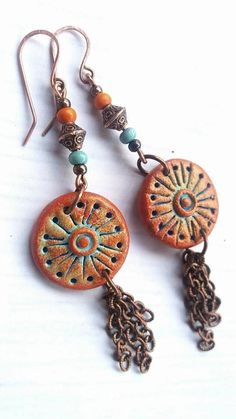 Unique, funky and fun boho jewelry ... Combination of polymer clay and copper. These are funky long bohemian inspired earrings. Total earring length is 9 cm / 3.54 inches. Colorful, lightweight and easy to wear. FREE SHIPPING anywhere.