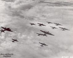 B-17s of the 91st in formation over Osnabruck, Germany