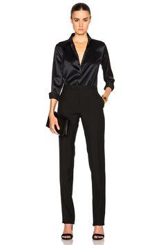 Image 5 of Saint Laurent Satin Blouse in Black