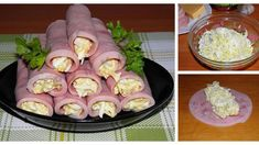 Ham rolls with cheese Ham Rolls, New Recipes, Sushi, Sausage, I Am Awesome, Appetizers, Food And Drink, Eggs, Yummy Food