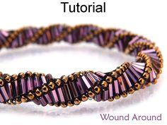 Beading Pattern, Tutorial, Beaded Necklace Bracelet, Beadwoven Triple Helix Dutch Spiral, Bugle Bead Directions, PDF Instructions #1888