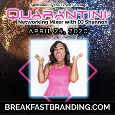 Join Shade Y. Adu and myself for a special Quaranti  Mixer tomorrow from 6p-8p. Sip a little something and get your networking on while you vibe to a special Friday night soundtrack.  Of course dress to impress! You won't want to miss it. Visit www.breakfastbranding.com for access.  Zoom meeting details will be released through the group. Soundtrack, Dress To Impress, Mixer, Dj, Join, Friday, Group, Female, Night
