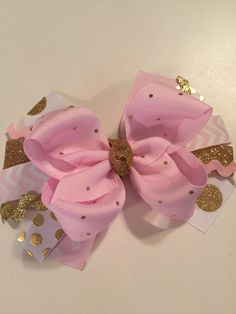 PINK and GOLD bow FIRST birthday pictures cake by MelleeAndMeBows