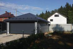 Гараж на 2 машины 6,2 х 8,4 м с отделкой фасада деревянным брусом  Построен по стандартному проекту. Площадь гаража 50 м². Вальмовая кровля.   #metgar #construction #garage #lstk #метгар #строительство #строительствогаража #лстк #гараж #гаражна1машину Shed, Outdoor Structures, Cabin, House Styles, Projects, Home Decor, Homemade Home Decor, Backyard Sheds, Sheds