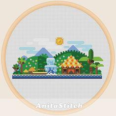 Tropical landscape Cross stitch pattern от AnitaStitch на Etsy
