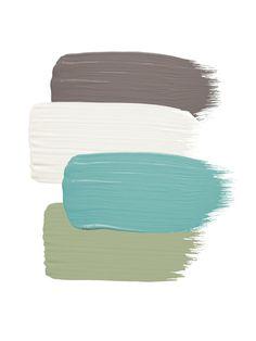 house colors for perfect curb appeal Siding: Sparrow by Benjamin Moore; Trim and fence: Frostine by Benjamin Moore; Front door: Majestic Blue by Benjamin Moore; Corbels: Thicket by Benjamin Moore Paint Schemes, Colour Schemes, Color Combos, Paint Combinations, Hardscape Design, Exterior Colors, Exterior Paint, Exterior Shutters, Deco Pastel