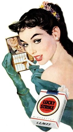 """My first time smoking was from a Lucky Strikes cigarette Axelroot gave me. I pretended I was a natural, though my coughing fit gave me away. """"I tried holding the filter tip between my two fingers like the girls in magazine ads. Pin Up Vintage, Pub Vintage, Vintage Labels, Old Advertisements, Retro Advertising, Retro Ads, Vintage Cigarette Ads, Gravure Illustration, Old Ads"""