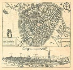 Antique map - bird's-eye view plan and view of Amersfoort by Braun and Hogenberg | Sanderus Antique Maps