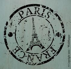 Paris France Stamp Stencil by WallMasqueStencilCo on Etsy, $18.75