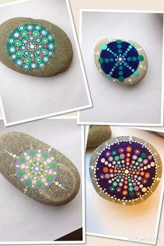 Dot painted mandala stones and rocks https://www.facebook.com/willabeesdesigner
