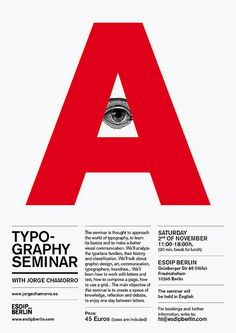 The use of 3 columns and margins, allows the text to be equally spaced as well as being left aligned. The use of different type fonts directs the reader to important information. Typo Poster, Typography Poster Design, Typographic Poster, Typographic Design, Graphic Design Posters, Modern Graphic Design, Graphic Design Illustration, Graphic Design Inspiration, Web Design