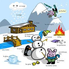 Winter vocabulary in French - vocabulaire d'hiver en français