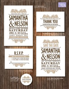 Items similar to Vintage Lace wedding Invitation - RSVP - Thank you card - label - DIY Printable - Customized cottage chic on Etsy Save The Date Invitations, Vintage Wedding Invitations, Printable Wedding Invitations, Wedding Stationery, Wedding Designs, Wedding Ideas, Wedding Inspiration, Wedding Pins, Wedding Card
