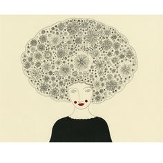 Its a flower filled Afro!    This is an archival print of an original ink drawing.    Print size is 8.5x11 inches, with a white border. Signed