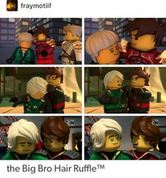"""""""A brunette and a blonde, with an unbreakable bond."""" - quote from another Ninjago pin I saved. I love Kai and Lloyd💚💚🔥🔥 Ninjago Jay, Lego Ninjago Lloyd, Ninjago Memes, Lego Ninjago Movie, Ninjago Cole, Lego Minecraft, Lego Moc, Lego Batman, Lego Technic"""