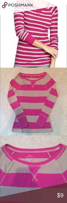 Long-sleeve tee Old navy, pink and brown striped, long-sleeve, waffle knit T-shirt. Soft, warm, cozy, and cute! Excellent condition! Old Navy Tops Tees - Long Sleeve