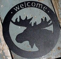Rustic Black Iron Round Moose Head Welcome Sign