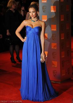 Royal blue dress, Jessica Alba