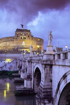 Castel Sant'Angelo and Bridge, Rome, Italy. 41°54′11.01″N 12°27′58.61″E