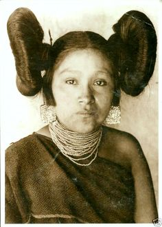 "A Hopi woman wearing her hair in ""butterfly"" buns. This hairdo may have been the inspiration for Princess Leia's famous double buns hairstyle in ""Star Wars."""