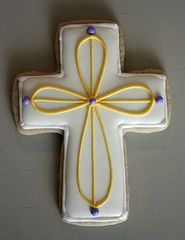 need the cross cutter! Best Sugar Cookies, Baby Cookies, Easter Cookies, Yummy Cookies, Cupcake Cookies, Cupcakes, Christening Cookies, Cross Cookies, First Communion Cakes