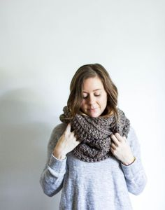 Infinity Winter Scarf Chunky Knitted Loop Cowl by peppermintpine