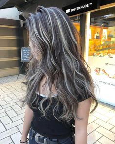 Gray Brown Hair With Silver Highlights Brown Blonde Hair, Hair Color For Black Hair, Black And Silver Hair, Brunette Hair, Grey Hair, White Hair Highlights, Haircuts For Long Hair, Hair Looks, Curly Hair Styles