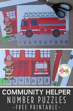 A high-interest math activity for boys!  Use these free fire truck printables to fun way to teach number recognition and number order. Both fire truck number puzzles will be great addition to your community helpers theme, fire safety theme, or firefighters theme unit and lesson plans in preschool or pre-k.  Teachers and children will love these fire trucks and firemen free printables.  Make math learning fun for kids ... perfect for learning at home. Activities For Boys, Counting Activities, Preschool Learning Activities, Puzzles For Kids, Preschool Classroom, Number Recognition Activities, Number Puzzles, Early Learning, Fun Learning