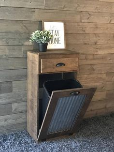 Free Ship tilt out trash bin Brown Provincial barn metal recycle Pallet Furniture, Furniture Projects, Furniture Makeover, Weathered Furniture, Trash Can Cabinet, Trash Bins, Diy Home Decor Projects, Diy Wood Projects, Decor Ideas