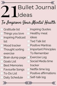 21 Mental Health Bullet Journal Ideas to Help You Relieve Anxiety Fast! Perfect to add to your mental health and self care routine! #mentalhealthawareness #journalideas #selfcareideas