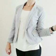 Knit Pique Soft Blazer - Gray Size: Medium - Fit: fitted, hits at hip, full length sleeves - Material: Cotton pique knit with a fun striped lining - stable, midweight knit, holds its shape - this blazer is great, it's basically like wearing a secret sweatshirt while still looking polished! It's a very feminine cut for a blazer, too, and due to the pique fabric is nicely fitted without feeling tight - Condition: excellent, pre-loved, worn once or twice - All bundles 15% off Kenar Jackets…