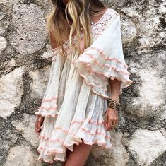 Feminine sexy boho chic peasant style tunic top for a pretty soft modern hippie allure. For the BEST Bohemian fashion trends of 2015 FOLLOW > https://www.pinterest.com/happygolicky/the-best-boho-chic-fashion-bohemian-jewelry-gypsy-/ < now