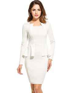 Women Casual Long Sleeve Solid Square Neck Zip-up Slim Pencil Dress