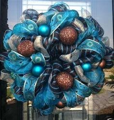 AmazonSmile: Turquoise 24in Work Wreath for Deco Mesh Wreaths