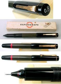 Vintage+Rotring+Rapidograph+Pistonfiller,+Black,+Rare,+1950s,+Germany,+In+Box+#Rotring