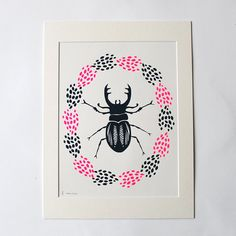 Stag Beetle Screen Print by WillowandInk on Etsy