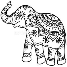 Indian elephant with indian decorations and patterns., Elephant Women's V-Neck T-Shirt - white Indian elephant with indian decorations and patterns. Indian Elephant Art, Elephant Outline, Elephant Pattern, Elephant Design, White Elephant, Elephant Stencil, Elephant Silhouette, Elephant Elephant, Elephant Shirt