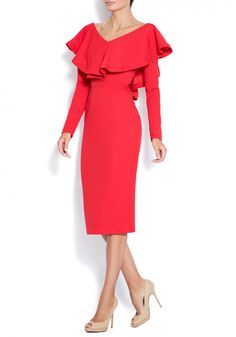 Midi crepe dress with open back .Subtle luxury details of the ruffles. Contemporary and elegant dress. Crepe Dress, Ruffles, Party Dress, Cold Shoulder Dress, Contemporary, Elegant, Luxury, Red, Dresses