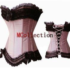 Burlesque-Corsage-Korsett-Hochzeit-Satinkorsett-Rosa-Lace-up-Corset-top