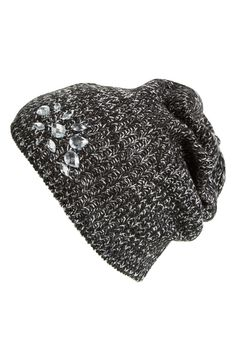 Crushing on this crystal bling on this knit beanie.