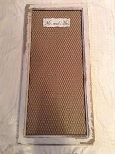 Mr and mrs chicken wire burlap frame