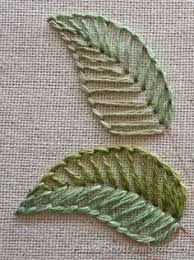 Resultado de imagem para ponto para bordar folhas