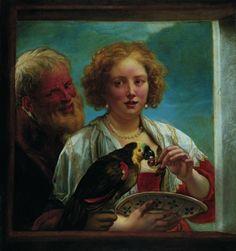"""amour-mal-assorti  la fille de Jordaens, Elisabeth, a posé pour cette œuvre illustrant un thème très en vogue depuis au moins la fin du Moyen-Âge, et resté vivace au XVIIe siècle, celui du barbon """"cueillant la cerise"""" (Kreenkenplukker) d'un tendron, par l'entremise d'un perroquet plus vivace que lui"""