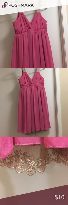 SALE!! Hot pink dress with beige satin straps Size 5. Gorgeous pink dress with decorated lace trim at the bottom and beige satin straps. Minor imperfections: string pull around bottom and round stain that you can barely see (see photos) - all of which is reflected in the price. Worn twice. Dresses Mini